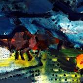 Klaus Frost, Regenlandschaft, Ausschnitt, Acryl/Tusche auf Papier, 2020