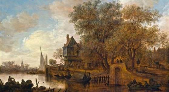 Kat-Nr: 0050 Jan van Goyen (Leiden 1596–1656 Den Haag) Flusslandschaft mit einem mehrstöckigen Wirtshaus Öl auf Holz 45 × 64 cm
