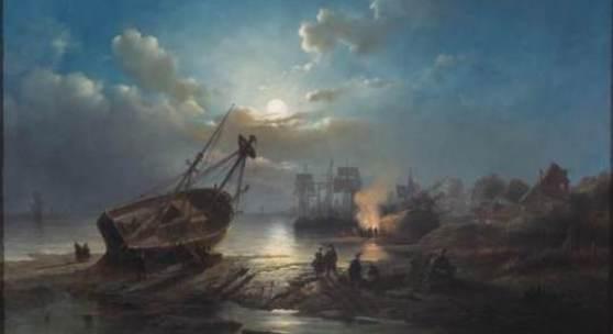 Henri Adolphe Schaep, Hafenarbeit bei Nacht, 1856, Sammlung Rademakers