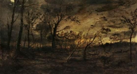 010   Karl Buchholz, Anbrechende Nacht im Weimarer Webicht. 1879. Zuschlag7.700 €