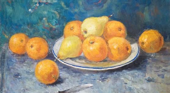 Russischer Maler: Stillleben mit Orangen und Birnen