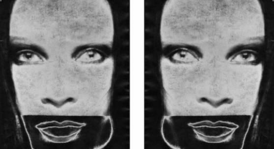 Katharina Sieverding: MATON SOLARISATION F-XXI/XXII A/B, 1969  C-Print, Acryl, Stahl je 190 x 125 cm  © Katharina Sieverding, VG Bild-Kunst, Bonn 2020 Foto: © Klaus Mettig, VG Bild-Kunst, Bonn 2020
