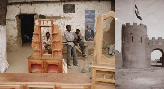 """Andréas Lang """"Arbeiter und Präsident & Historisches Foto, Kamerun 2012 & 1909-1914"""" © Andréas Lang"""