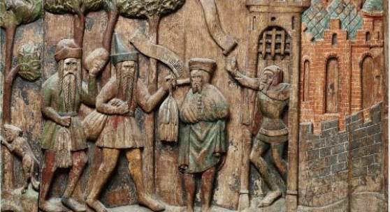 Gestühl der Russlandfahrer, um 1400/1420 Holz, bemalt, 86 x 104 cm Stralsund, St. Nikolai © Edition herre; Foto: Volkmar Herre