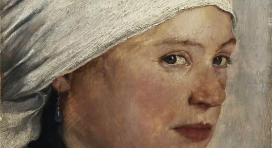 Wilhelm Leibl: Mädchen mit weißem Kopftuch, um 1876/77, Öl auf Eichenholz, Bayerische Staatsgemäldesammlungen – Neue Pinakothek, München © Bayerische Staatsgemäldesammlungen