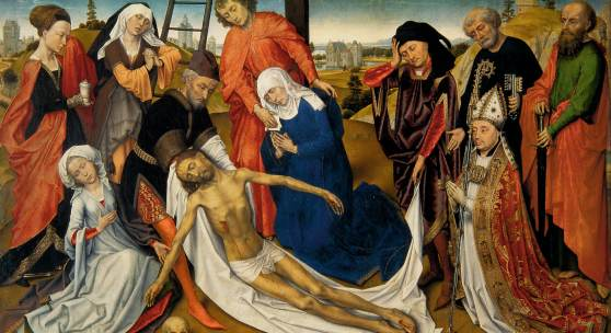 Rogier van der Weyden (and studio), The Lamentation of Christ, c. 1460-1464, Mauritshuis, Den Haag (oil on panel, 80.6 x 130.1 cm)