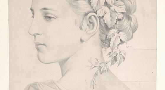 Franz Pernlochner Thaur 1847–1895 Thaur Mit Weinlaub gekränzte junge Frau im Dreiviertelprofil nach links Bleistift auf Papier, 421 x 311 mm Inv. Nr. 19Jh P 2058  © TLM