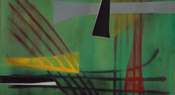 Abb.: Fritz Winter, Auf grünem Grund, 1949, Öl auf Papier auf Leinwand, 50 x 70 cm, Kunstsammlungen Chemnitz, Dauerleihgabe Sammlung Lühl,  Foto: Kunstsammlungen Chemnitz/May Voigt, © VG Bild-Kunst, Bonn 2019