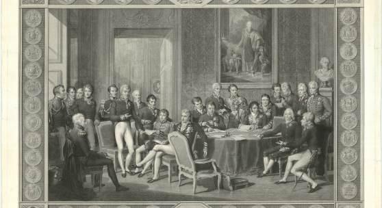 Jean Godefroy, Ansicht einer Plenarversammlung des Wiener Kongresses, 1815, nach einer Zeichnung von Jean-Baptiste Isabey, Kupferdruck, 1819. Nach einer Zeichnung des berühmten französischen Malers Isabey, der damit die offizielle Darstellung des Kongresses schuf. Die Radierung setzt einen beeindruckenden Verhandlungstisch in Szene, um den herum Minister und Bevollmächtigte der Grossmächte versammelt sind, und auf dem eine grosse Landkarte ausgebreitet ist. Dieses Bild wird zu einer Modelldarste