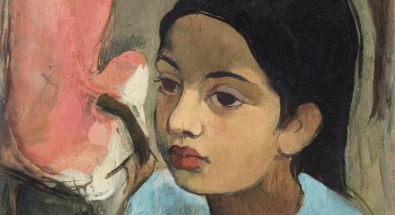PROPERTY OF A LADY, NEW DELHI Amrita Sher-Gil THE LITTLE GIRL IN BLUE Estimate  8,50,00,000 — 12,50,00,000  INR  LOT SOLD.18,68,75,000 INR