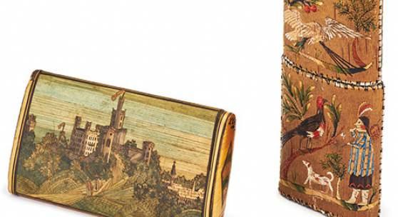 Strohetui mit Ansicht von Schloss Ortenberg, 19. Jh., Zigarrenetui, Nordamerika, Mitte 19. Jh., Ethnologische Sammlung Museum Natur und Mensch, Foto: Axel Killian