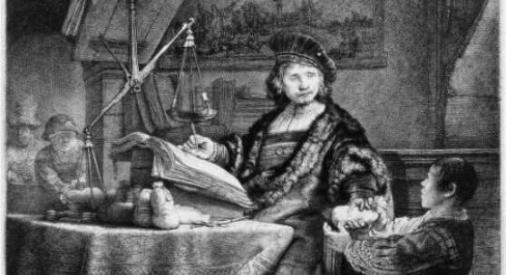 Rembrandt, Jan Uytenbogaert, genannt der Goldwäger, 1639, Radierung, Kaltnadel, Grabstichel Foto: Alte Galerie, Universalmuseum Joanneum, Graz