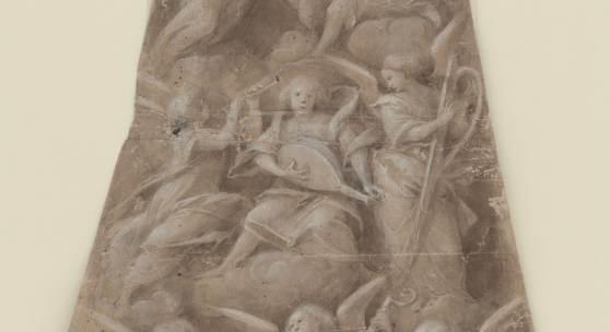 GAUDENZIO FERRARI (UM 1477 – 1546)  Engelskonzert, Entwurf für eine Kuppeldekoration im Santuario di S. Maria dei Miracoli, Saronno, 1532/34 Pinsel in Braun, weiß gehöht 475 x 300 mm Inv.-Nr. 2660 Z © Staatliche Graphische Sammlung München