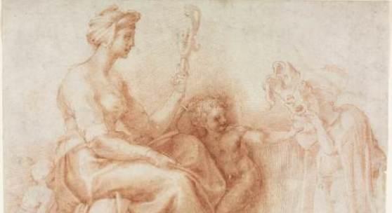 Francesco Salviati, Allegorie der Weisheit (nach Michelangelo), um 1530, Rötel auf Vergè, Wallraf-Richartz-Museum, Graphische Sammlung
