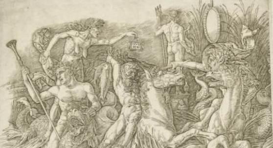 Andrea Mantegna (1431-1506), Kampf der Seegötter , 1470-1490, Kupferstich, Hamburger Kunsthalle