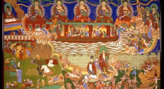 Buddhistisches Ritualbild Unbekannter Künstler Farben auf Textil Bildmaß: Höhe 147 cm; Breite 213 cm Jejudo, 1930er Jahre