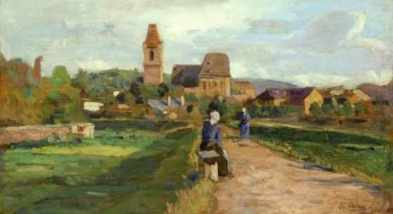 Tina Blau (1845 – 1916) Blick auf Perchtoldsdorf Öl auf Holz signiert, bezeichnet und datiert 1895 17,8 x 26,8 cm (Galerie Szaal)