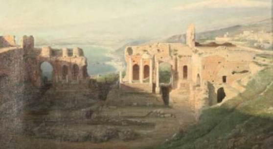 """Adolf Böhm (Katnr. 707, Taxe € 1.650,-)  Das Gemälde """"Taormina"""" zeigt das gleichnamige griechische Theater auf Sizilien. The painting """"Taormina"""" shows the same named greek theatre at sicily."""