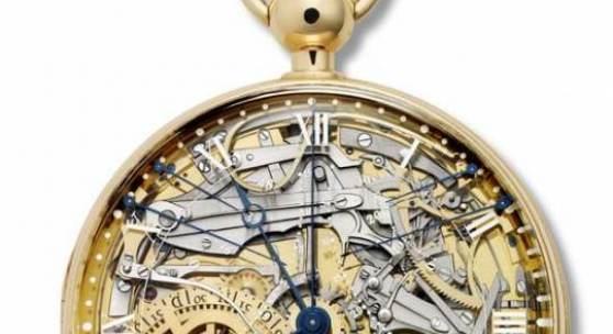 Nr. 1160 Perpetuelle Uhr mit Minutenrepetition Goldgehäuse, Zifferblatt aus Bergkristall, Zeiger aus Gold und Stahl, vollständiger ewiger Kalender, Zeitgleichung, Anzeige der Gangreserve, metallisches Thermometer, grosse unabhängige Sekunde und kleiner Sekundenzeiger. Replikat der Marie-Antoinette genannten Uhr Nr. 160, ausgeführt von 2005 bis 2008 durch die Montres Breguet © Collection Montres Breguet