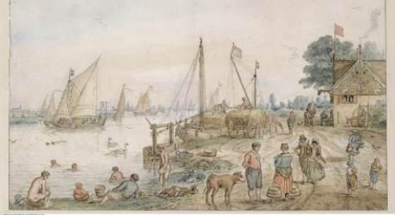 Hendrick Avercamp: Flusslandschaft mit badenden Knaben, um 1615-1620. Feder, aquarelliert, 27,4 Staatliche Museen zu Berlin, Kupferstichkabinett / Volker-H. Schneider