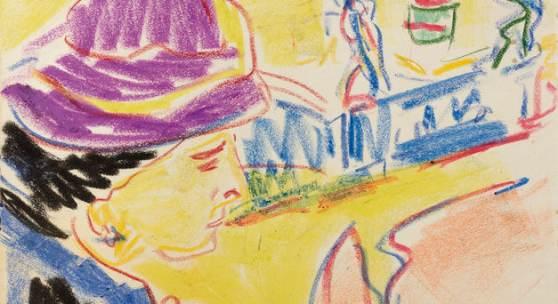 """Ernst Ludwig Kirchner, """"Frauenbildnis mit Hut"""", um 1910, Farbkreiden auf Papier, 26,7x34,3 cm, verso:Nachlassstempel E.L.Kirchner Foto: W & K – Wienerroither & Kohlbacher"""