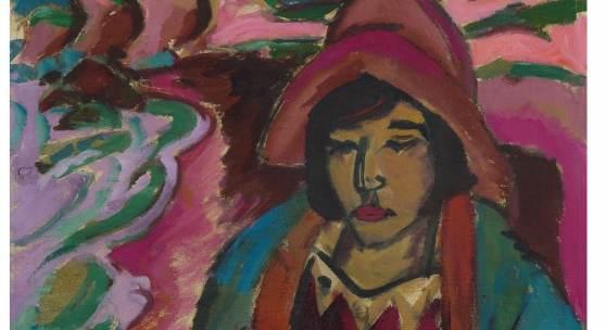 Ernst Ludwig Kirchner Mädchen in Südwester. 1912 Öl auf Leinwand, 51 x 56 cm WVZ Gordon 246 Prov.: Kirchner-Nachlaß; Werner Brunner, Sankt Gallen (1952); Privatbesitz Schweiz (seit 1976) Schätzpreis:  € 1.300.000 – 1.500.000,-
