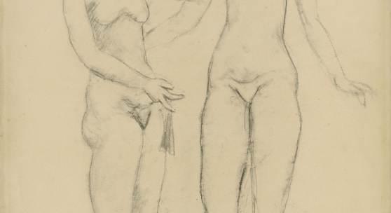 Lot 32 Nr. 398 857 Pablo Picasso Deux femmes nues se tenant. 1906 Graphitzeichnung, teils gewischt, auf Papier, 63,5 x 46,3 cm Schätzpreis: EUR 400.000 – 500.000,-