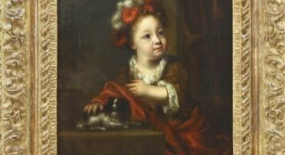 Hofmaler des 18. Jh. Zwei Kinderportraits, Gegenstücke. Wohl Friedrich der Große als Kind mit King-Charles-Spaniel und seine Schwester Wilhelmine mit Blumen. Öl auf Leinwand, doubliert. Ca. 46 x 33 cm.