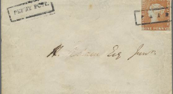 1847 Mauritius 1d Ball Cover mit der Roten Mauritius Startpreis: vier Millionen Euro