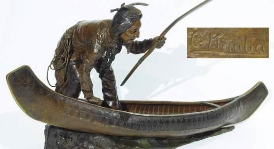 Kat.Nr. 269  KAUBA, Carl. Wiener Bronze, Indianer, ein Kanu besteigend. Mindestpreis 3.000,– EUR