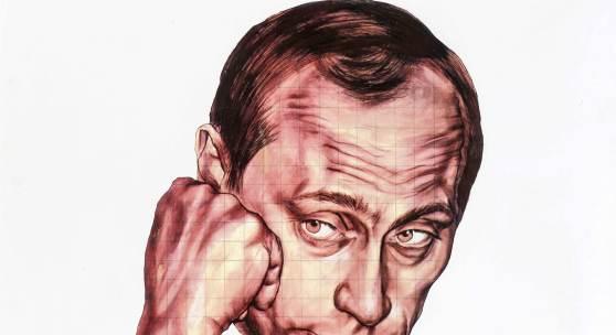 Historia, 135. Auktion, Los 1810: Dmtry Vrubel, Portrait von Wladimir Putin, Mischtechnik auf Lwd., unsign., 70 x 100 cm