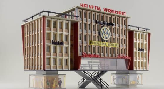 """Moderne auf """"Stelzen"""": das Faller-Modell """"Geschäftshausblock Helvetia"""" (ab 1965) © Hagen Stier"""