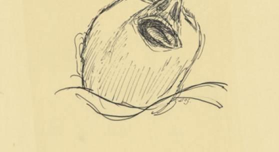 """Paul Holz, Tod eines Unglücklichen im Hospital (zu Dostojewski, """"Aufzeichnungen aus einem Totenhaus""""), vor 1928, Tuschfeder auf Pergament, Akademie der Künste, Berlin, Kunstsammlung, Inv.Nr. HZ 3715"""
