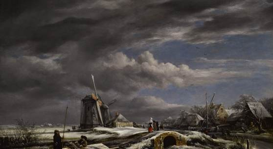 Lot  117 Property from a Private American Collection JOHN CONSTABLE, R.A. (East Bergholt, Suffolk 1776 - 1837 Hampstead) A WINTER LANDSCAPE WITH WITH FIGURES ON A PATH, A FOOTBRIDGE AND WINDMILLS BEYOND (AFTER JACOB VAN RUISDAEL) oil on canvas 22 by 28⅛ in.; 55.8 by 71.4 cm. Estimate $250/350,000