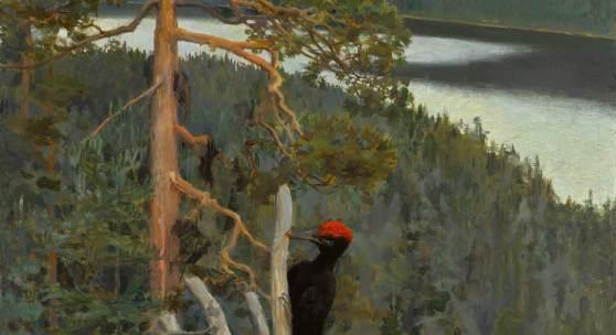 10147 Lot 47 - Akseli Gallen-Kallela, Palokärki (Great Black Woodpecker or Wilderness)