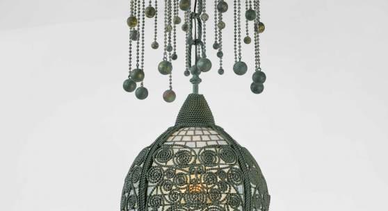 10340 Lot 58 - Tiffany Studios, 'Moorish' Twisted Wire Chandelier