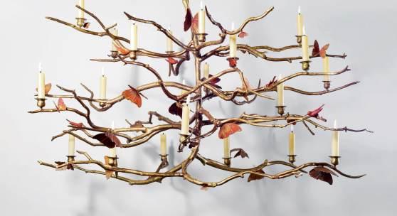 """A Unique """"Structure Végétale aux Oiseaux et Papillons"""" Chandelier by Claude Lalanne (estimate $800,000/1.2 million)"""