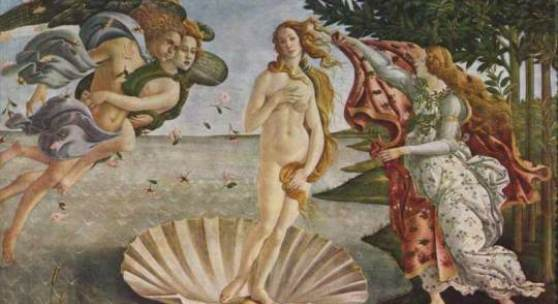 "Botticelli, Sandro  Geburt der Venus Renaissance   Das Gemälde ""Geburt der Venus"" von Botticelli, Sandro als hochwertige, handgemalte Ölgemälde-Replikation. Originalformat: 172,5 x 278,5 cm. Bildmaterial: www.oel-bild.de"