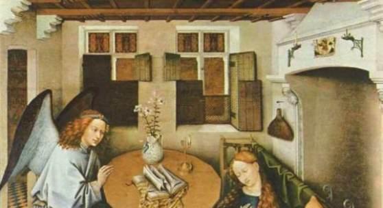 """Campin, Robert  Die Verkuendigung Altniederlaendische Malerei   Das Gemälde """"Die Verkuendigung"""" von Campin, Robert als hochwertige, handgemalte Ölgemälde-Replikation. Entstanden: um 1420-1440. Bildmaterial: www.oel-bild.de"""