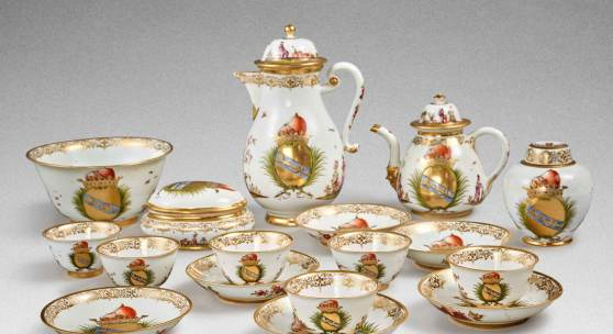 10776 Lot 94 A rare Meissen armorial tea and coffee service