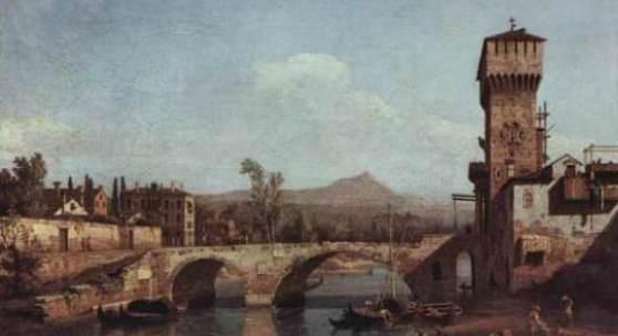Bellotto, Bernardo, Veneto Fluss Bruecke und mittelalterliches Stadttor, Bildnachweis: www.oel-bild.de