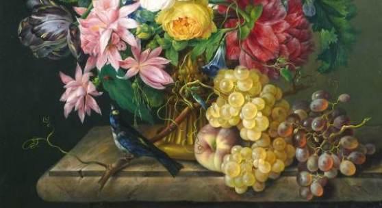 "10_Franz Xaver Petter, ""Großes Blumenstück"", 1932, Öl auf Holz, 77 x 60 cm,rechts unten signiert und datiert: Franz Xaver Petter 1832,rückseitig Sammlungs-Sigel, Foto: Kunsthandel Giese & Schweiger"