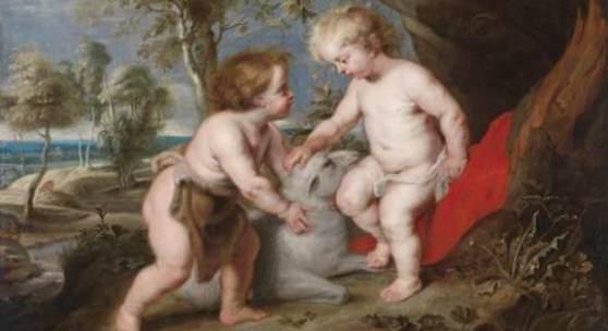 Peter Paul Rubens und Werkstatt, Der Christusknabe mit dem kindlichen Johannes, erzielter Preis € 558.030