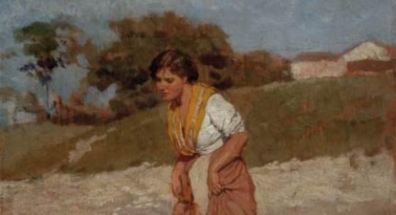 """Fotonachweis: Dorotheum Eugen von Blaas (1843-1931) """"Junges Mädchen im Wasser stehend"""", Schätzwert € 2.000 - 3.000"""