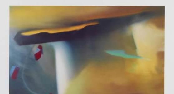 """Lot: 1254 Gerhard Richter 1932 Dresden - lebt und arbeitet in Köln und Düsseldorf Abstraktes Bild. 1991. Farboffset Butin Anhang S. 285. Signiert und datiert. Auf Offset-Papier. 49 x 74 cm (19,2 x 29,1 in)Papier: 67,7 x 90 cm (26,6 x 35,4 in). Nach dem Gemälde """"Abstraktes Bild"""" von 1977. Herausgegeben von Achenbach Art Edition, Düsseldorf 1991. [SM]."""