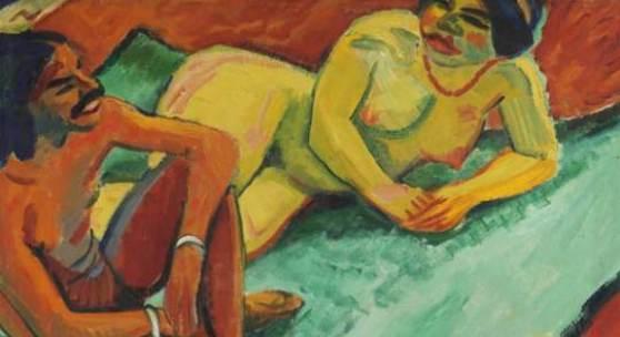 """Lot: 25 Hermann Max Pechstein 1881 Zwickau - 1955 Berlin Weib mit Inder auf Teppich (Vorderseite), Früchte II (Rückseite). 1910. Öl auf Leinwand, beidseitig bemalt Soika 1910/3 und 1910/54. Verso das Stillleben """"Früchte II"""" rechts unten monogrammiert (ligiert) und datiert. 71,5 x 82,5 cm (28,1 x 32,4 in) Im Werkverzeichnis von Soika sind die beiden Gemäldeseiten betitelt als """"Früchte"""" und """"Inder und Frauenakt"""". Die handgeschnitzte und bemalte Fruchtschale links unten taucht auf den Gemälden """"Orangen"""" (Soika 1909/5) und """"Inder, hockend"""" (Soika 1910/55) auf. [KD/EH].  PROVENIENZ: 1920er Jahre bis 1986 Privatsammlung Bayern. Privatsammlung Süddeutschland."""