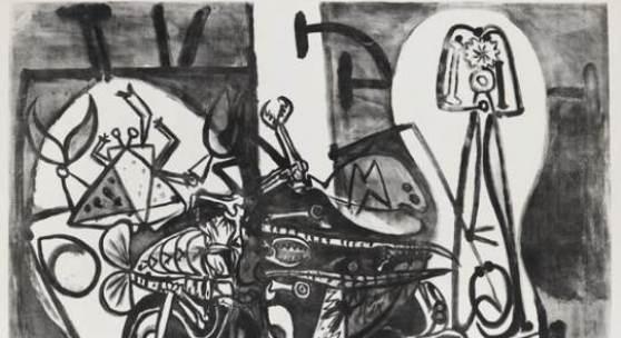 """Lot: 386 Pablo Picasso 1881 Malaga - 1973 Mougins Homards et poissons. 1949. Lithografie. Bloch 582. Mourlot 142. Signiert und nummeriert. Exemplar 33/50. Auf Velin. 74,1 x 103,3 cm (29,1 x 40,6 in). Papier: 79,7 x 110 cm (31,3 x 43,3 in). Diese Lithografie bietet ein Maximum dessen, was der Künstler Picasso mit Lithotusche zu erzielen vermag. """"Diese Komposition ist sowohl wegen der Qualität der Tuschzeichnungen, als auch wegen ihrer Größe bemerkenswert."""" (Mourlot, S. 123/124). [DB]."""