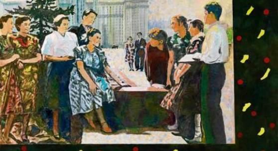 """Ilya Kabakov """"Bei der Universität 1972"""", 2002, Öl auf Leinwand, 160x250cm, € 600.000-800.000"""