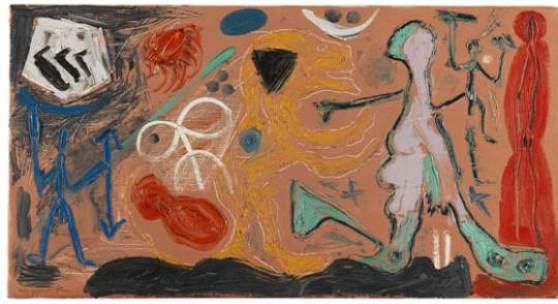Lot: 817   Penck (d.i. Ralf Winkler), A. R.  Ohne Titel, 1986.  Schätzpreis: 14.000 EUR / 18.200 $