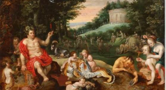 Jan Brueghel der Jüngere (1601 - 1678). Bacchanal. Öl/Holztafel.